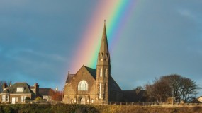Rainbow at St James Church, Lossiemouth, Moray