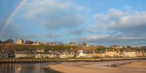St James' Church Lossiemouth and Prospect Terrace from the East Beach