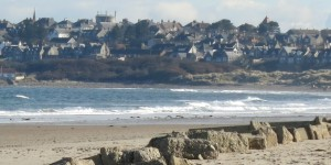 St James' and St Gerardine's High Churches viewed on Lossiemouth's Skyline from the West Beach