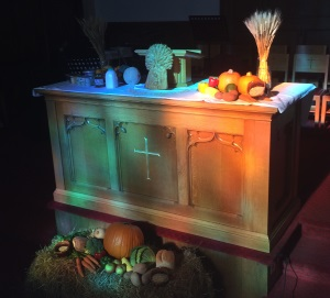Harvest Thanksgiving Communion Table at St James' Church, Lossiemouth