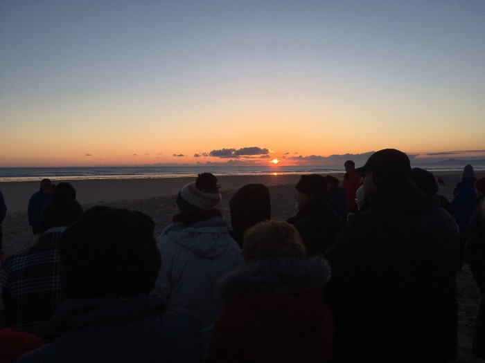 The sun rises a bit higher at the Easter Sunday Sunrise Service, East Beach, Lossiemouth, Moray