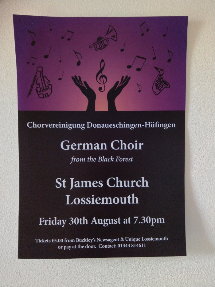 Poster for German Choir Concert at St James' Church, Lossiemouth - 30 August 2019