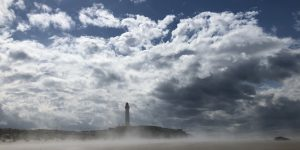 Covesea Lighthouse, Lossiemouth, in mist and sunshine