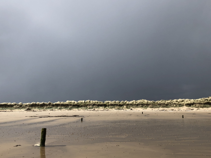 Black clouds and sunshine, West Beach, Lossiemouth
